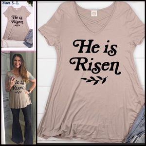 Criss Cross Neck/ He Is Risen Top / S - L /Taupe
